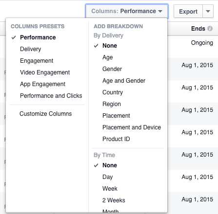 New Facebook Ads Manager Columns