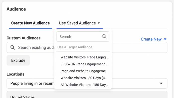 Facebook Saved Audience