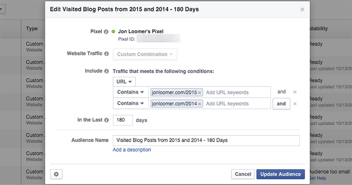 Facebook Website Custom Audience Two Years