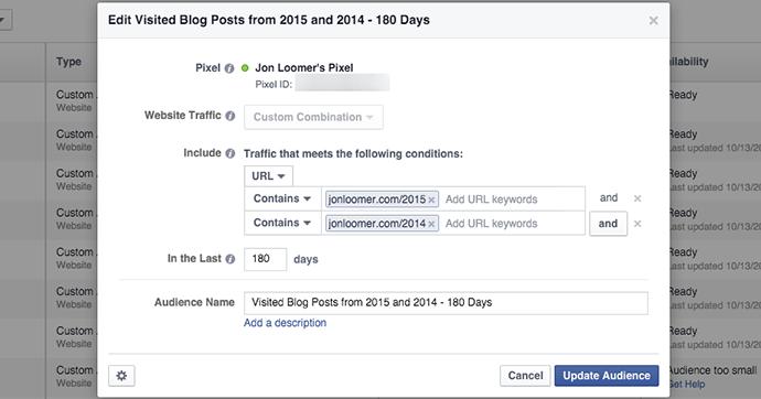 Facebook Website Custom Audience Two Years