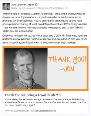 Jon Loomer Digital Thank You Ad