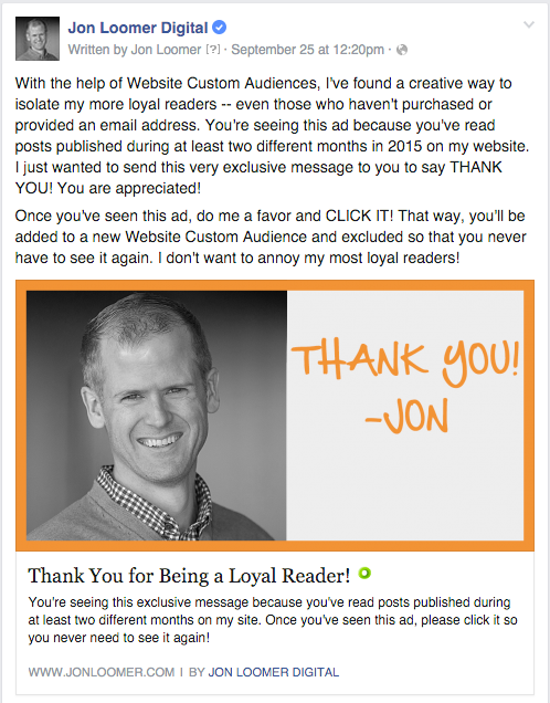 Jon Loomer Digital Thank You Ad