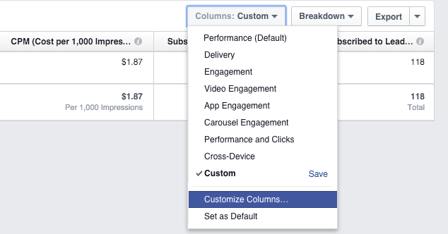 Facebook Custom Conversions