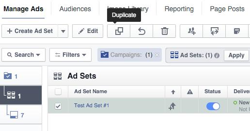 Facebook Ad Set Duplicate