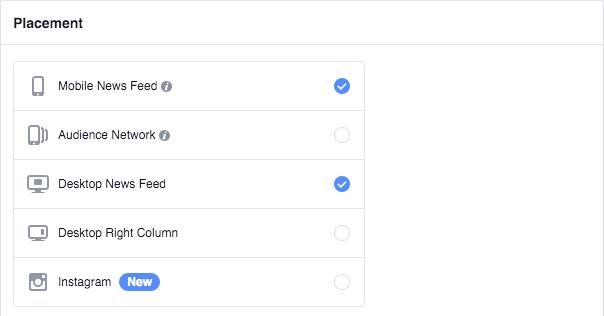 Facebook Ad Set Placement