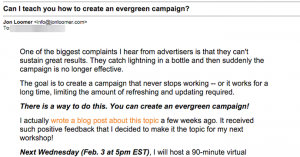 Facebook Evergreen Campaign Email