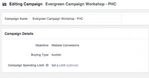 Facebook Evergreen Workshop Campaign