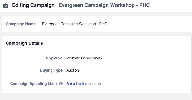 Facebook Evergreen Workshop Campaign