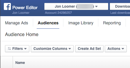 Facebook Power Editor Audiences