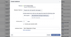 Facebook Website Custom Audience 4 Days