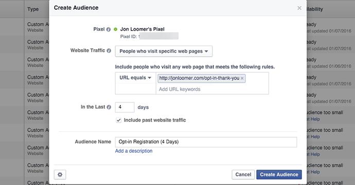 Facebook Website Custom Audience 4 Days