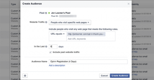 Facebook Website Custom Audience 8 Days