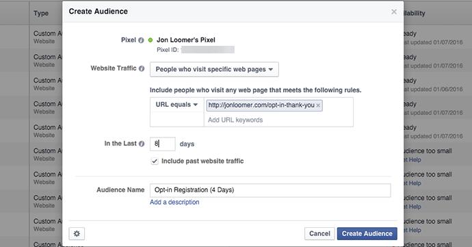 Facebook Website Custom Audience 8 Days