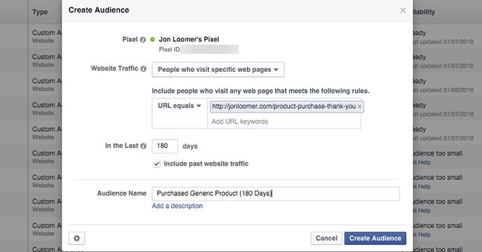 Facebook Website Custom Audience Purchase