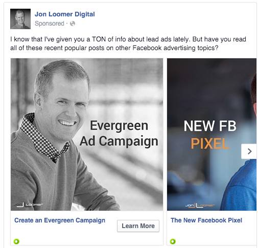 Facebook Evergreen Campaign Articles