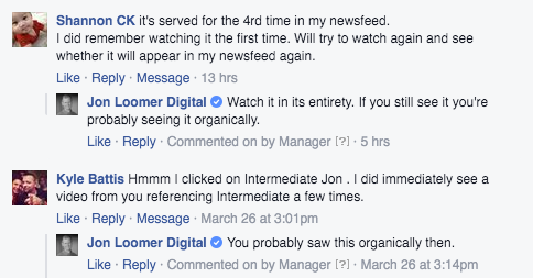 Facebook Ad Comments Organic