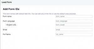Facebook Lead Ads Edit Field IDs