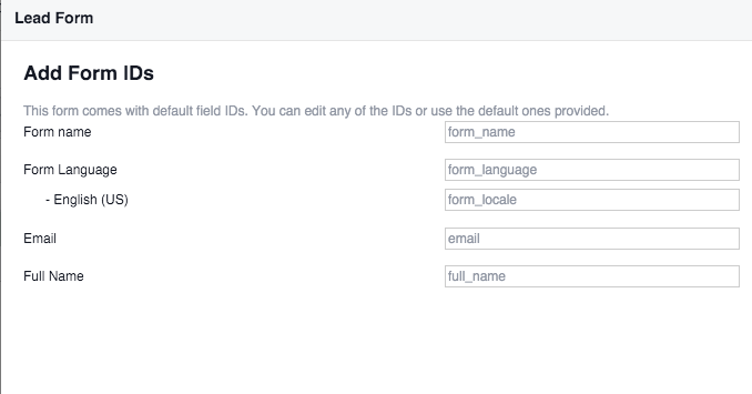 Facebook Lead Ads Edit Field IDs