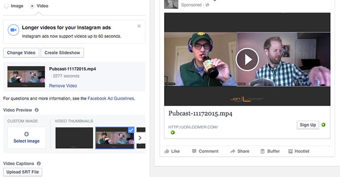 Facebook Lead Ads Video or Slide Show