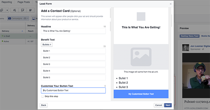 Facebook Lead Form Context Card