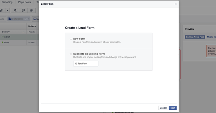 Facebook Lead Form Duplicate