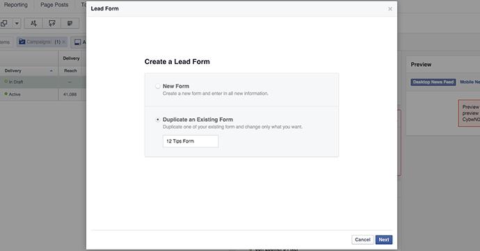 Facebook Lead Form Duplicate