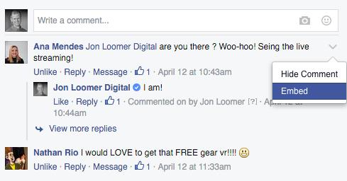 Facebook Embedded Comment