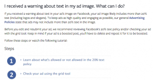 Facebook Help Center Text Rule