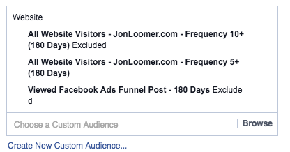 Facebook Website Custom Audiences Frequency