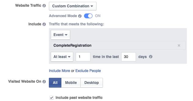 Website Custom Audience Advanced Mode CompleteRegistration
