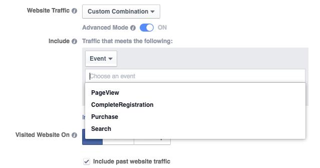 Website Custom Audience Advanced Mode Events