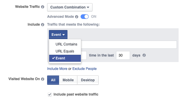 Website Custom Audience Advanced Mode Events