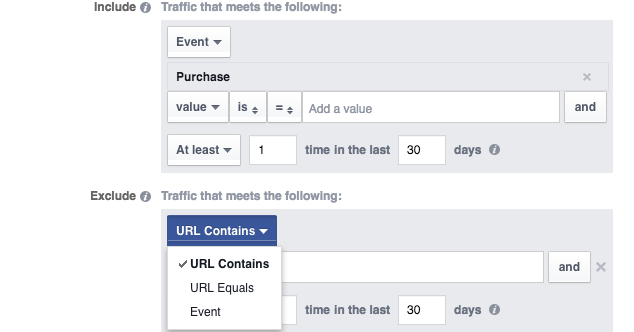 Website Custom Audience Advanced Mode Exclude People