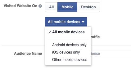 Website Custom Audience Advanced Mode Mobile