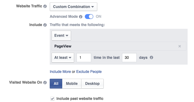 Website Custom Audience Advanced Mode PageView