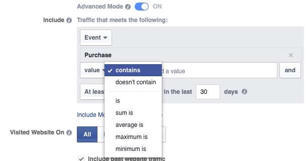 Website Custom Audience Advanced Mode Purchase