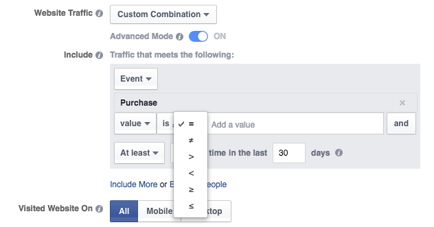 Website Custom Audience Advanced Mode Purchase