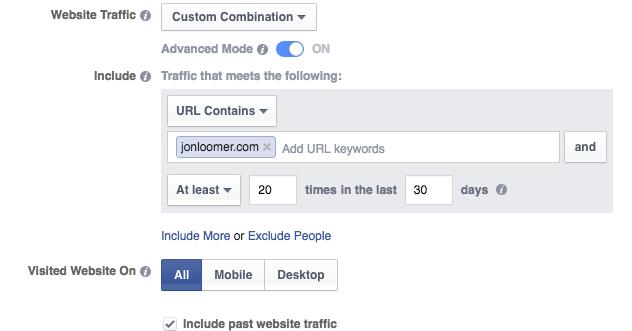 Website Custom Audience Advanced Mode