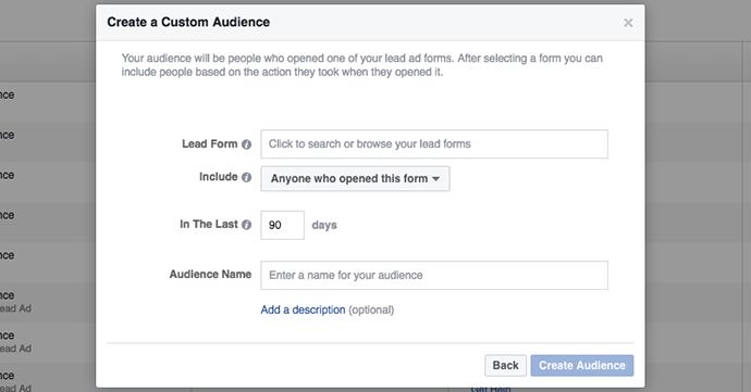 Engagement on Facebook Custom Audience Lead Ad