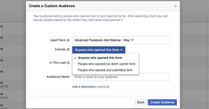 Engagement on Facebook Custom Audience Lead Ad