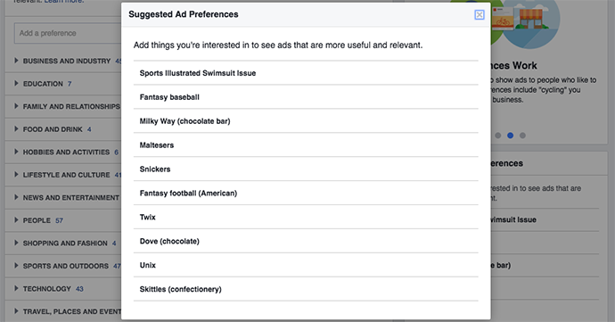 Facebook Ad Preferences Recommended