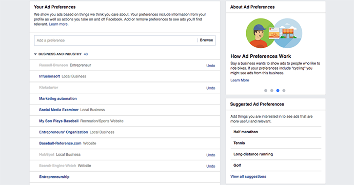 Facebook Your Ad Preferences