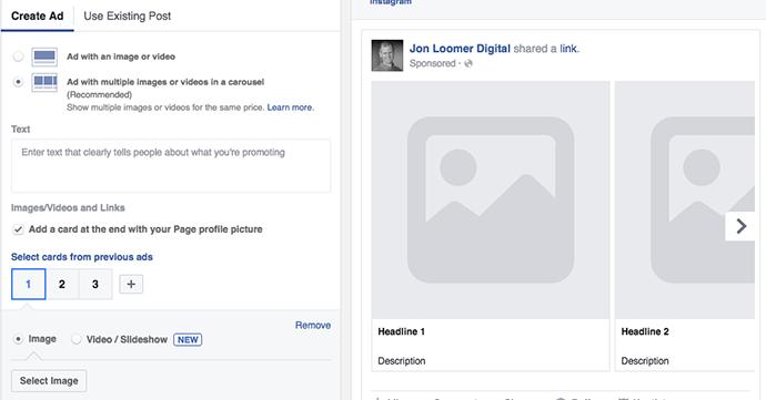Create Facebook Ad Carousel