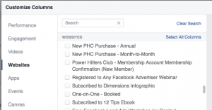 Facebook Ad Reports Customize Columns