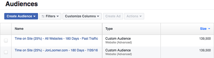Facebook Time on Website Custom Audiences