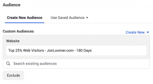 Time on Website Custom Audience
