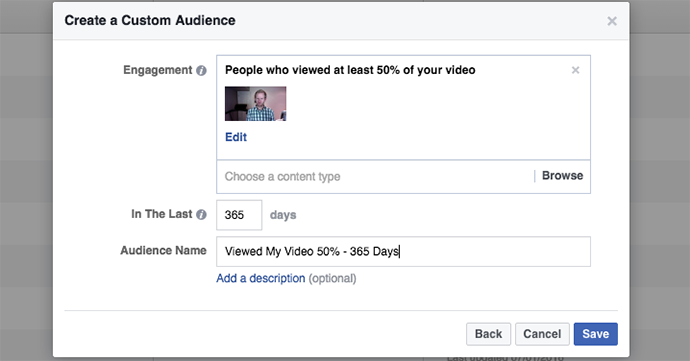 Video Views Engagement on Facebook Custom Audiences