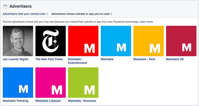 Facebook Advertisers Whose Website or App You've Used