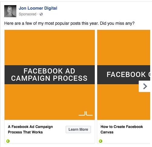 Facebook Carousel Recent Blog Posts