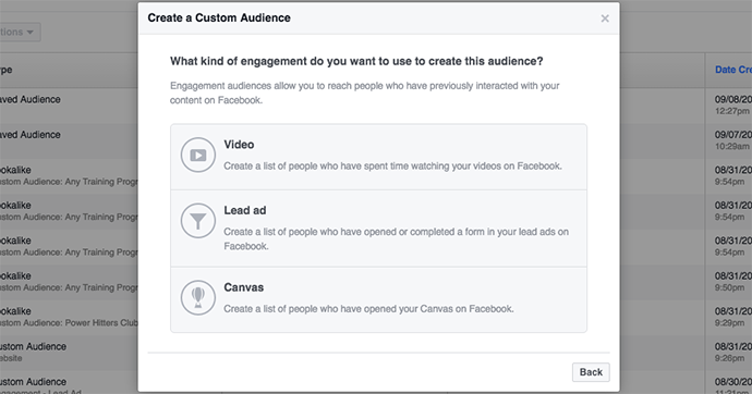 Facebook Canvas Custom Audiences